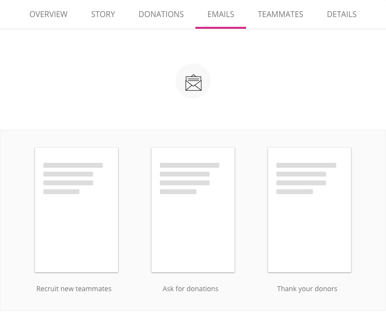 image of the email screen in a fundraising page editor with the option to recruit new teammates