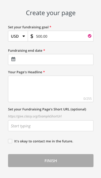 image of the form for creating an individual fundraising page