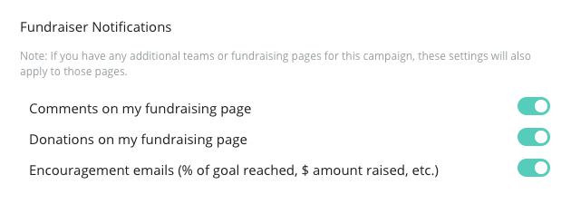 image of the fundraiser notifications that can be changed under the details tab